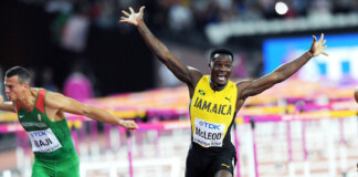 Omar McLeod celebrates first Jamaican gold medal