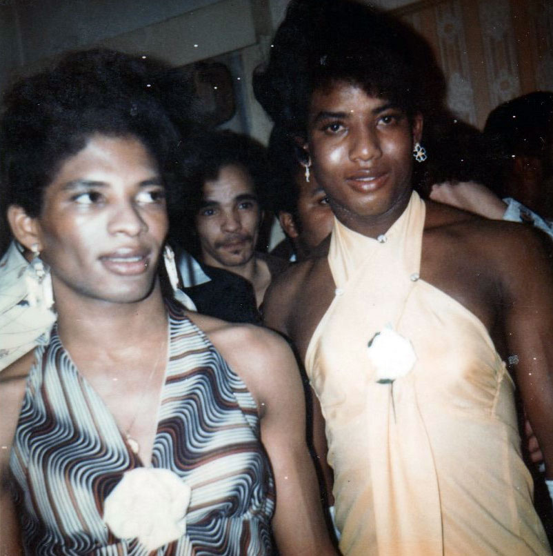 Tyrone & cuthbert preparing for a drag show on the black gay underground scene in 1970s london.